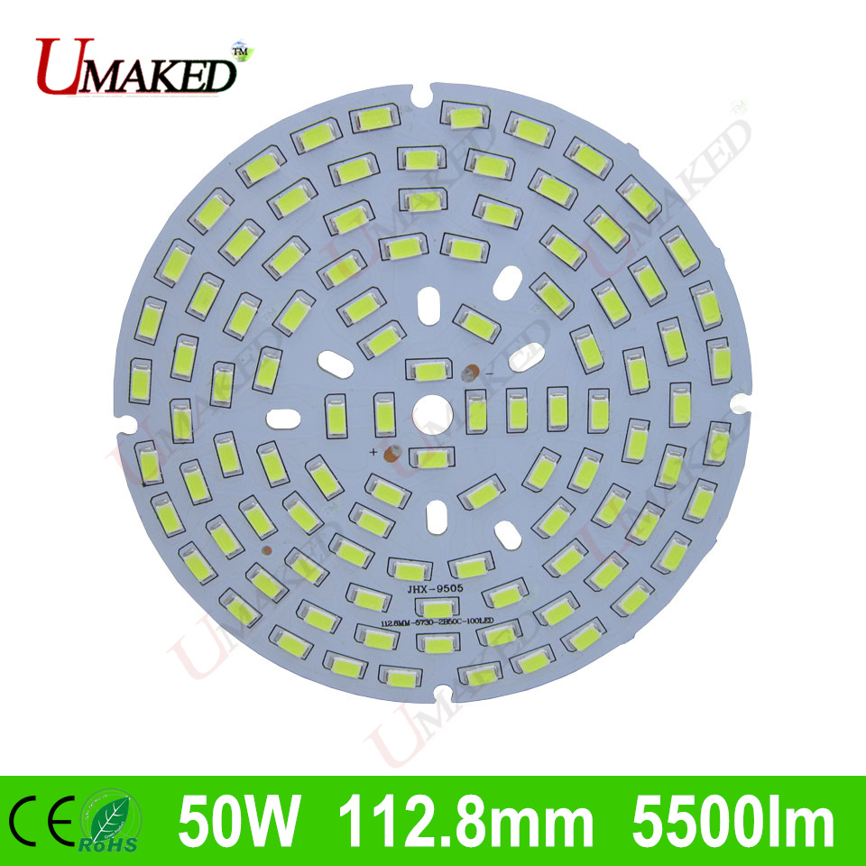 50W 112.8mm 5500lm LED PCB with smd5730 chips installed, aluminum plate base for bulb light, ceiling light, LED lamps 10pcs led aluminum plate 40mm for 5w 5730 smd heat sink