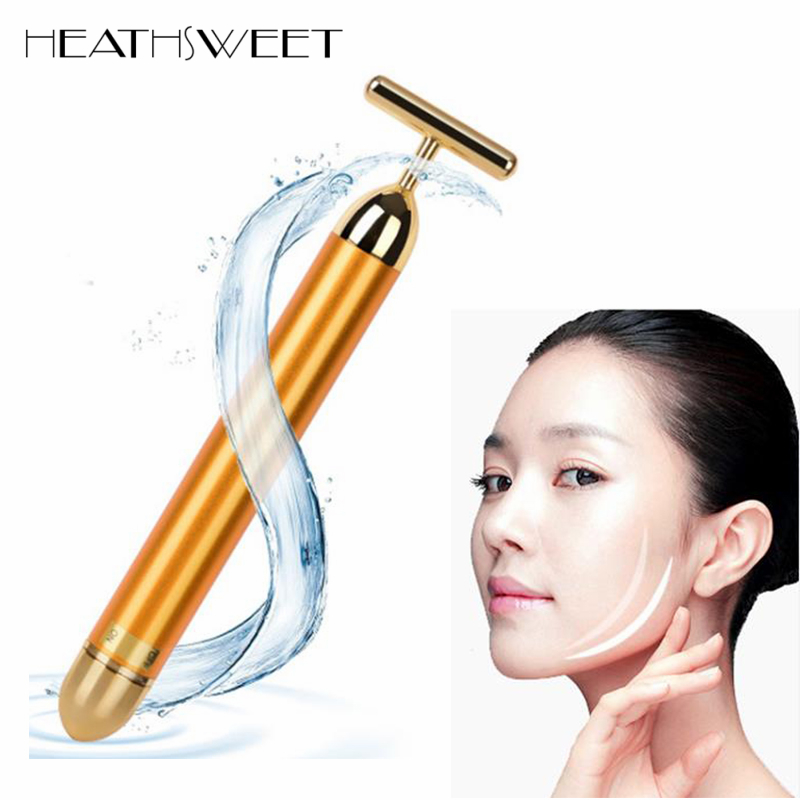 Healthsweet 24K Gold Mini Massage Device Electric Eye Massager Facial Vibration Thin Face Magic Stick Anti Bag Pouch Wrinkle Pen deep face cleansing brush facial cleanser 2 speeds electric face wash machine