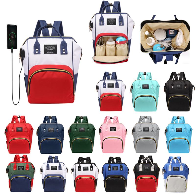 Multifunction Women Mummy Maternity Diaper Bag Large Capacity USB Port Baby Nursing Backpack Handbags Baby Mummy Travel Bags