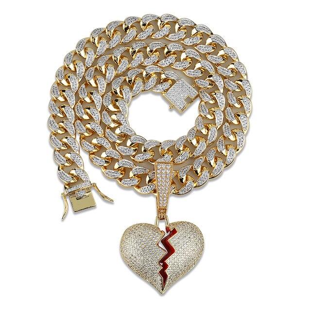 Ожерелье и кулон в форме сердца со сверкающим цирконием, большая кубинская цепь 14 мм в ширину, Ювелирное Украшение в стиле хип хоп золотого и серебряного цвета с кубическим цирконием для мужчин и женщин