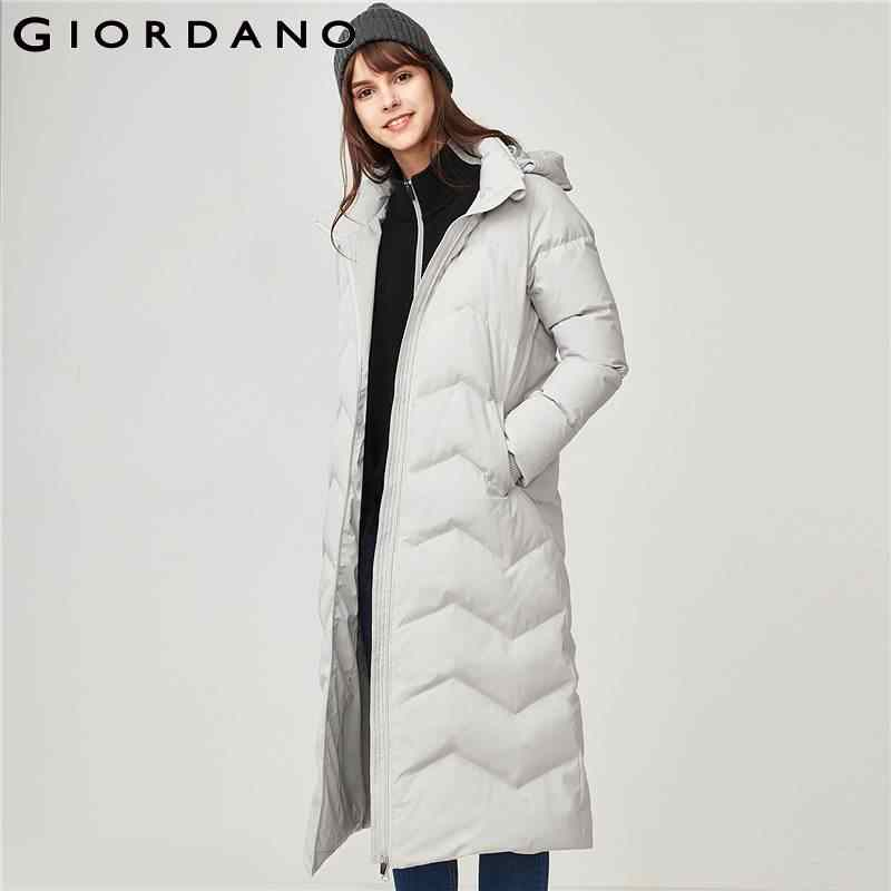 Giordano Women 90% Down Jacket Winter Waterproof Women Down Coat Machine Washable Doudoune Femme Long Length Chaqueta Mujer