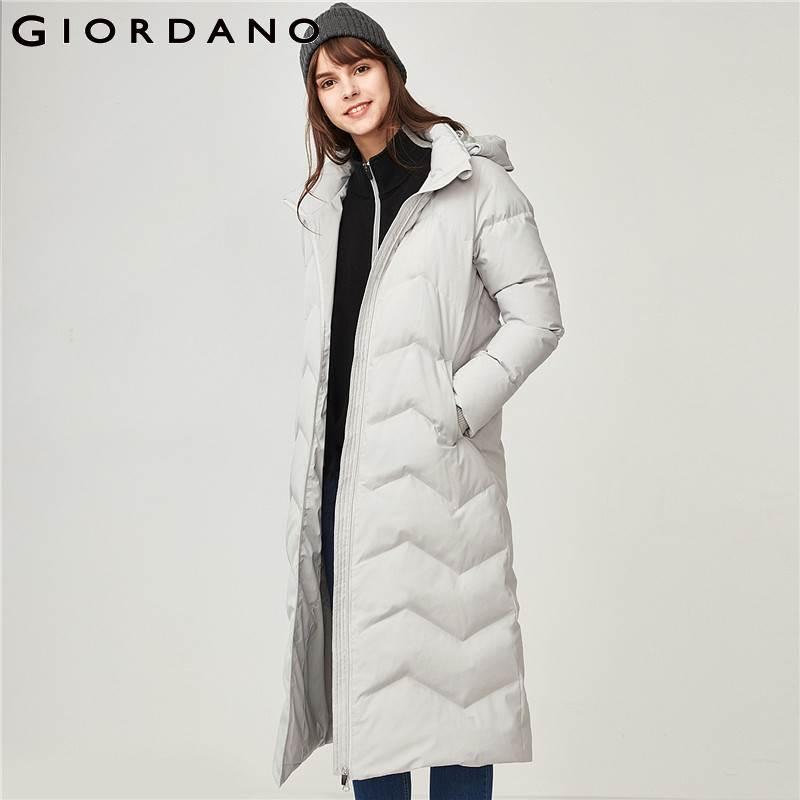 Giordano Women 90% Down Jacket Winter Waterproof Women Down Coat Machine Washable Doudoune Femme Long Length Chaqueta Mujer