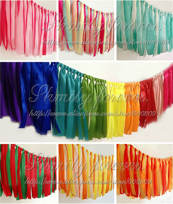 17 Designs Ribbon Garland Decor Double Layer Wedding Celebration