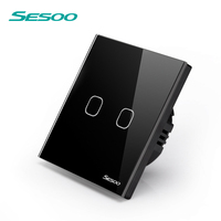 SESOO Touch Switch 1 Gang 1 Way Wall Light Touch Screen Switch Crystal Glass Switch Panel