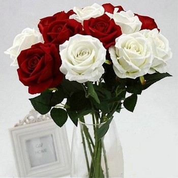 11PCS Romantic Rose Artificial Flower DIY Red White Silk Fake Flower for Party Home Wedding Decoration Valentine's Day