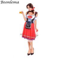 Beonlema Beer Maid Dress Plus Size Costume Sexy Ladies Roleplay Suit Adult Erotic Maid Uniform Green Red Oktoberfest Clothing