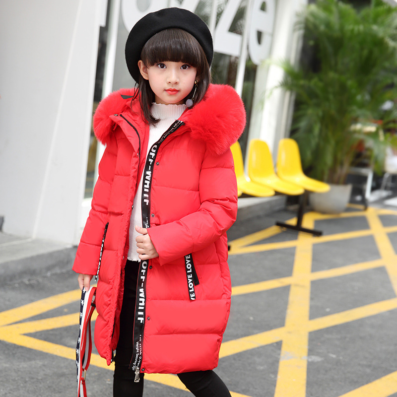 Faux Fur Hood 120-160cm Winter Jackets Girls Jacket Girl Children Thick Down Coat For Girls Warm Outerwear & Parka Casual Style