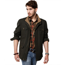 Autumn Winter New Europe and the United States Men's Jacket Bigger Sizes Collar More Pockets Long Men's Coat