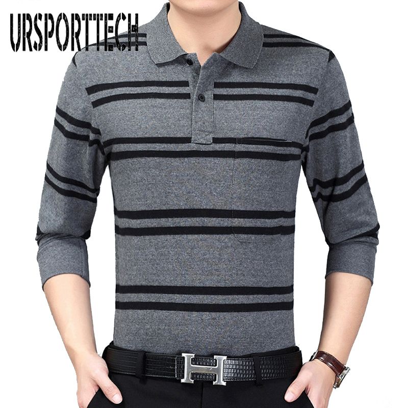 2018 Brand New Fashion Men's Pocket Striped Polo Shirt Casual Long Sleeve Spring Autumn Lapel Male Poloshirt Men Clothes Tops