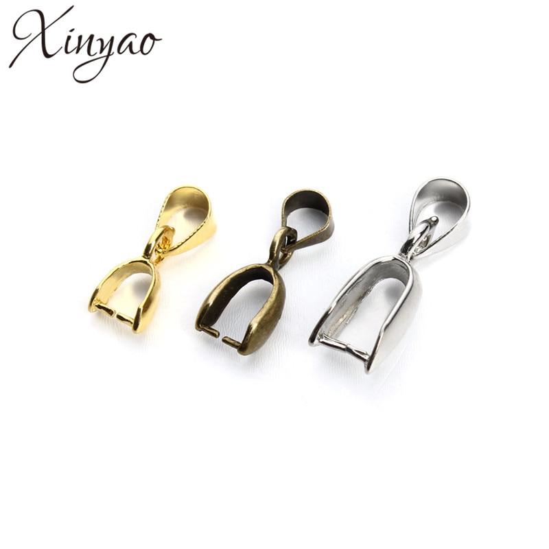 XINYAO 50pcs/lot 5*14/6*17/7*20mm Pendants Clasps Clips Bails Connectors Copper Charm Bail Beads Jewelry Findings F54 50pcs lot lm2594m lm2594m 5 0 2594m 5 0