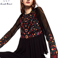 Women Blouses 2017 Spring New Fashion Black Back Hollow Out Sexy Chiffon Flower Embroidery O-neck See Though Female Shirts Tops