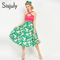 Sisjuly Women Vintage Dress 1950s Summer Print Rockabilly Patchwork Sexy Dress Sleeveless Female Vintage Green Dresses