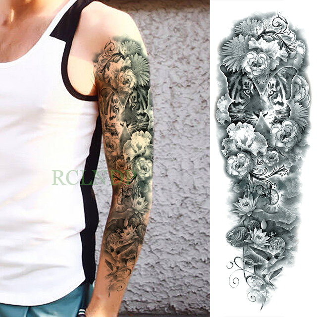 Waterproof Temporary Tattoo Sticker Tiger Lotus Flower Full Arm