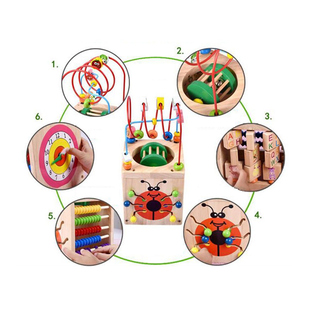 Perle en bois labyrinthe activité Center boîte multi-fonction ronde perles boîte Cube bois jouets unisexe enfants polyvalent jouet éducatif - 4