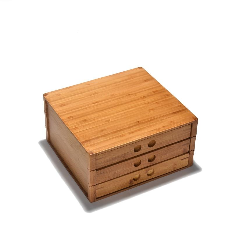 Bambou Pu Er thé pots à thé conception de tiroir boîte à thé accessoires de cérémonie de thé conteneurs de stockage de Protection de l'environnement