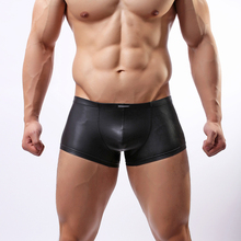 Wowhomme Men Boxer Shorts Faux Leather Underpants Japanned Trunks Fashion Male Sexy Underwear C33