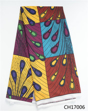 Traditional African wax pattern Chiffon fabric multi color design high quality Digital printed material for clothing CH17006