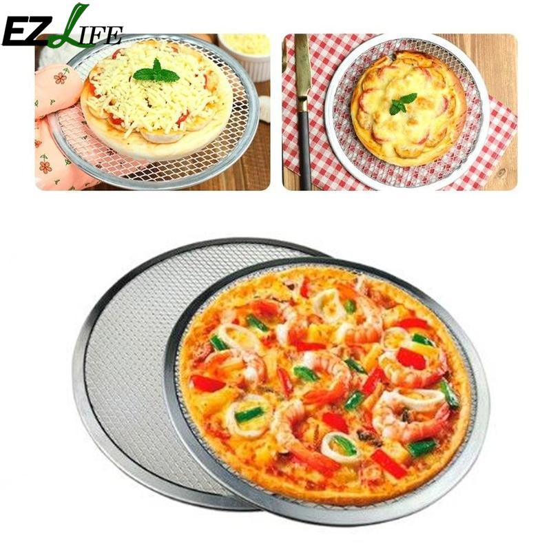 EZLIFE 6/8/9/10 Inch Aluminium Pizza Flat Mesh Thickening Pizza Mesh Baking Pizza Dishes Network Tray Kitchen Baking Tool