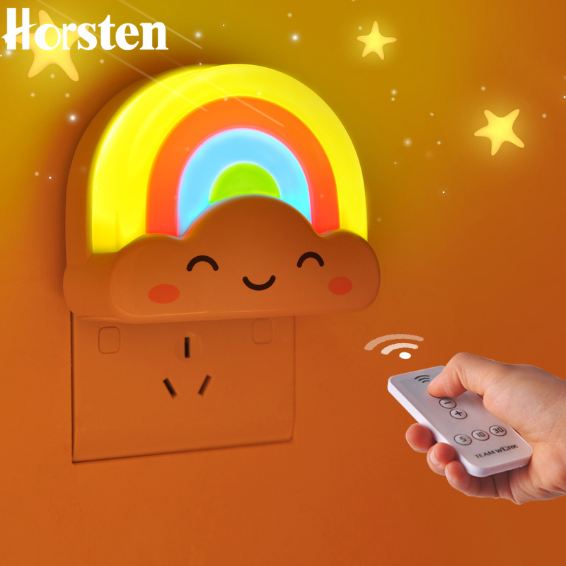 Horsten Rainbow Cloud Mini LED Night Light for Children Baby Room Voice Light Sensor Remote Control Decoration Cartoon Lights