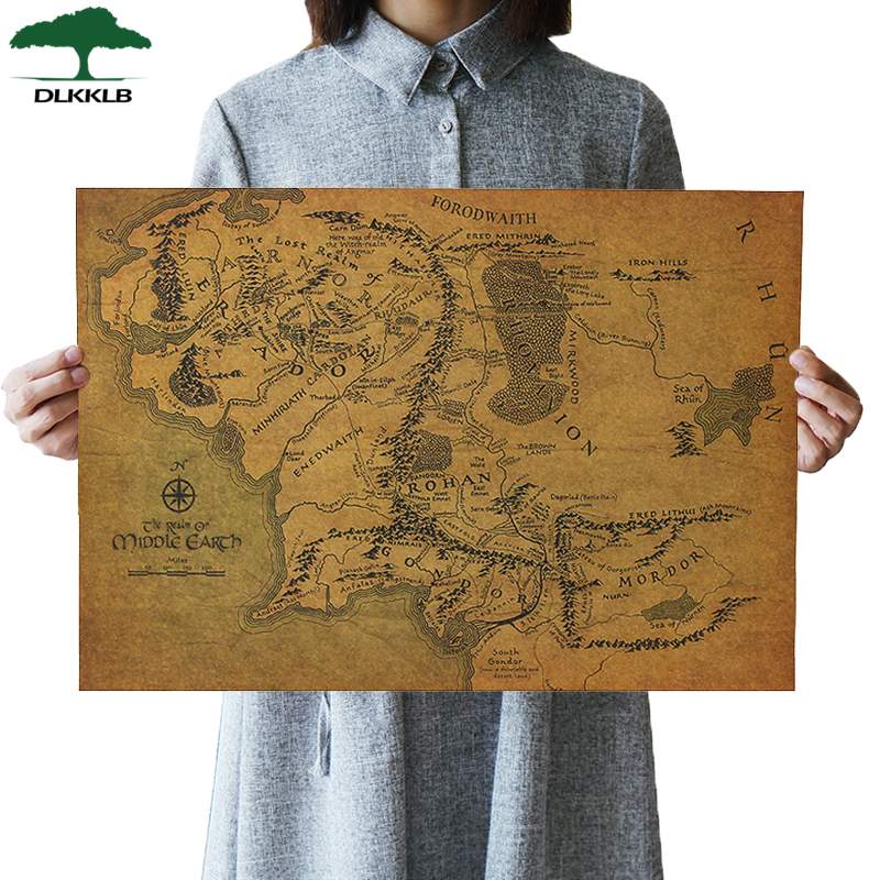 DLKKLB Lord Of The Rings The Hobbit Map Of Middle-earth Movie Posters Classic Map Kraft Paper Adornment Paintings Wall Sticker image