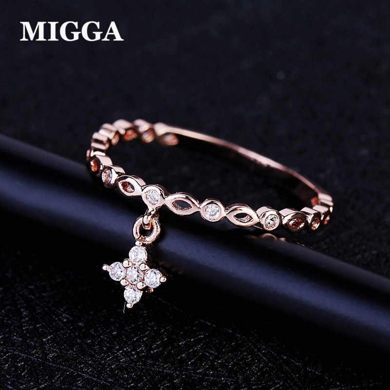 MIGGA délicat cubique zircone fleur pendentif Bague bijoux or Rose couleur Bague pour les femmes mode Bague