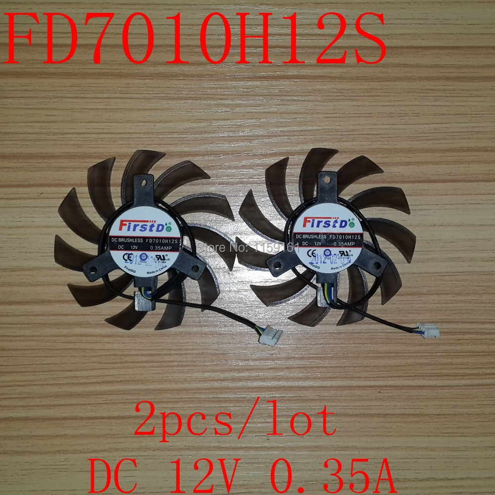 Gratis frakt Computador Cooling Fan FD7010H12S 75mm 4Pin 12V 0.35A for grafikkortkort MSI R6790 Twin Frozr II 2Pcs / Lot