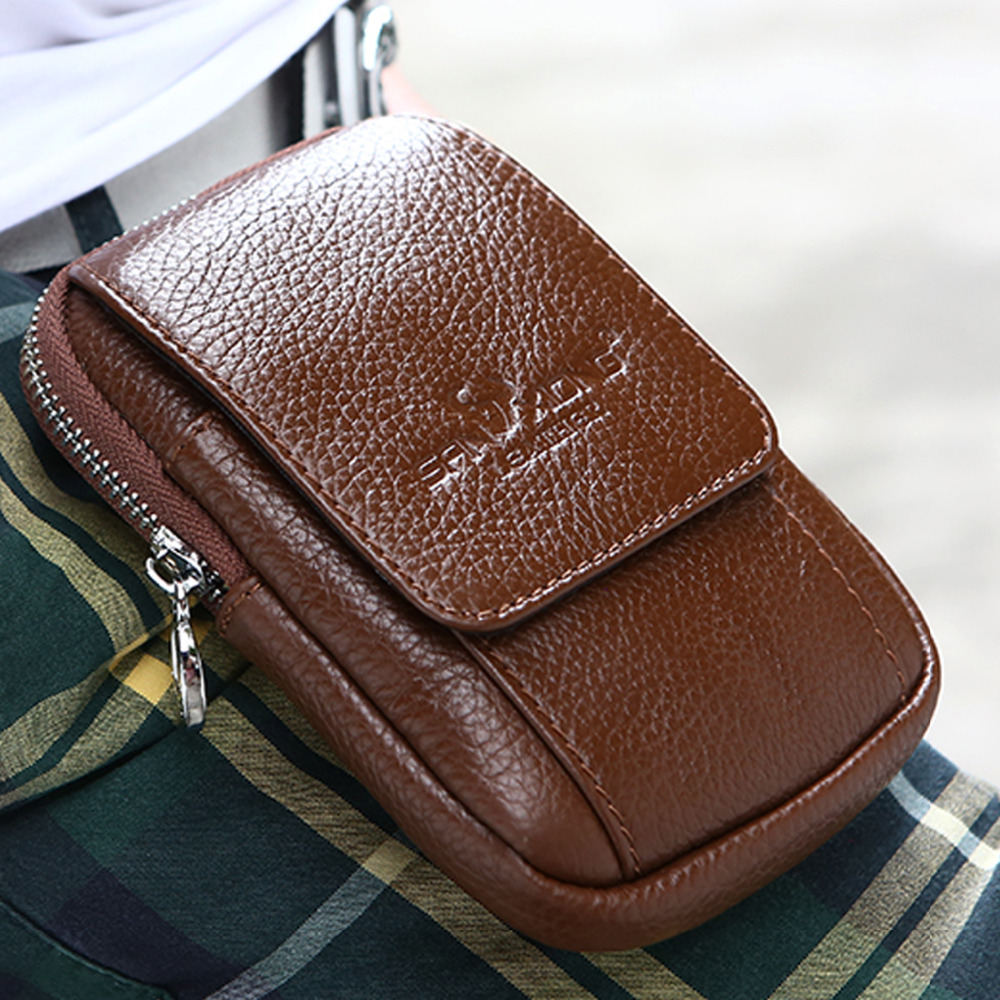 Divat férfi valódi bőr kampó fanny csomag derék táska csípő öv bum érme erszényes tasak cigaretta kulcs tok cellás mobiltelefon zseb
