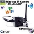 1.3 MegaPixels mini wifi camera With microphone 960P 3.7mm Lens H.264 Onvif security camera CCTV Camera HI3518E  Mobile Phone Vi