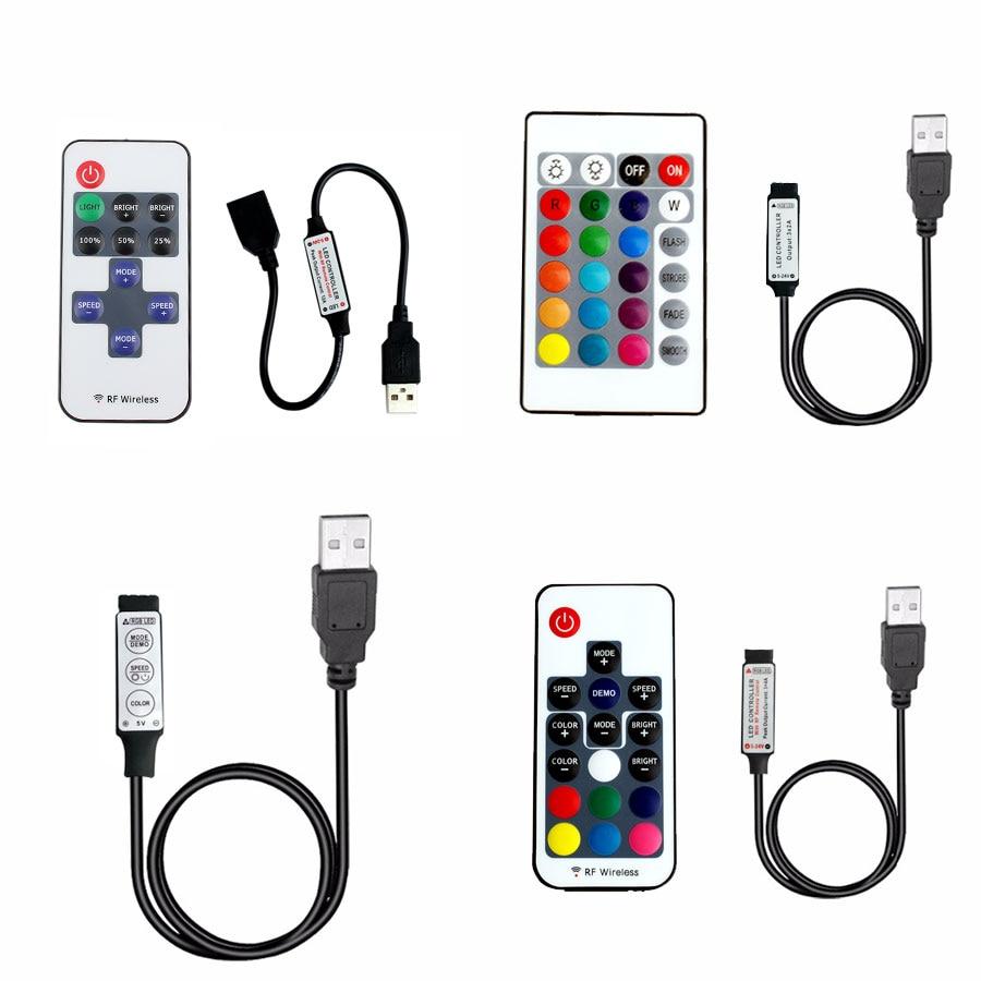 5 12V 24 V tiras de luz LED USB RGB USB controlador remoto RF de 5V 12V 24 V de tira de luz LED USB 3 11 17 24 clave inalámbrico remoto