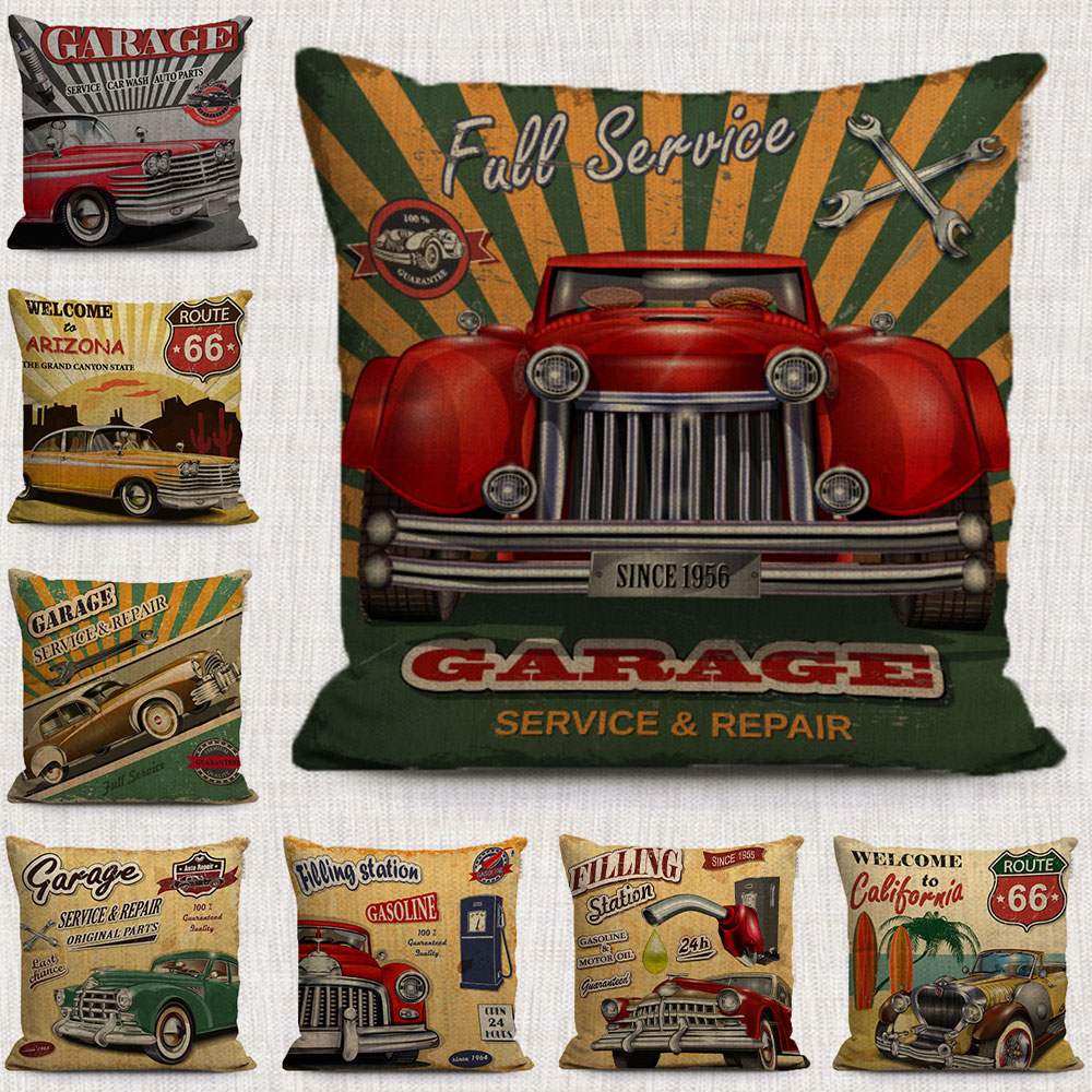 Sofa Taxi Us 3 98 Vintage Anime Car Decorative Pillows Covers Taxi Car Chemistry Throw Pillows Cases Linen Covers For Sofa Home Seat In Cushion Cover From