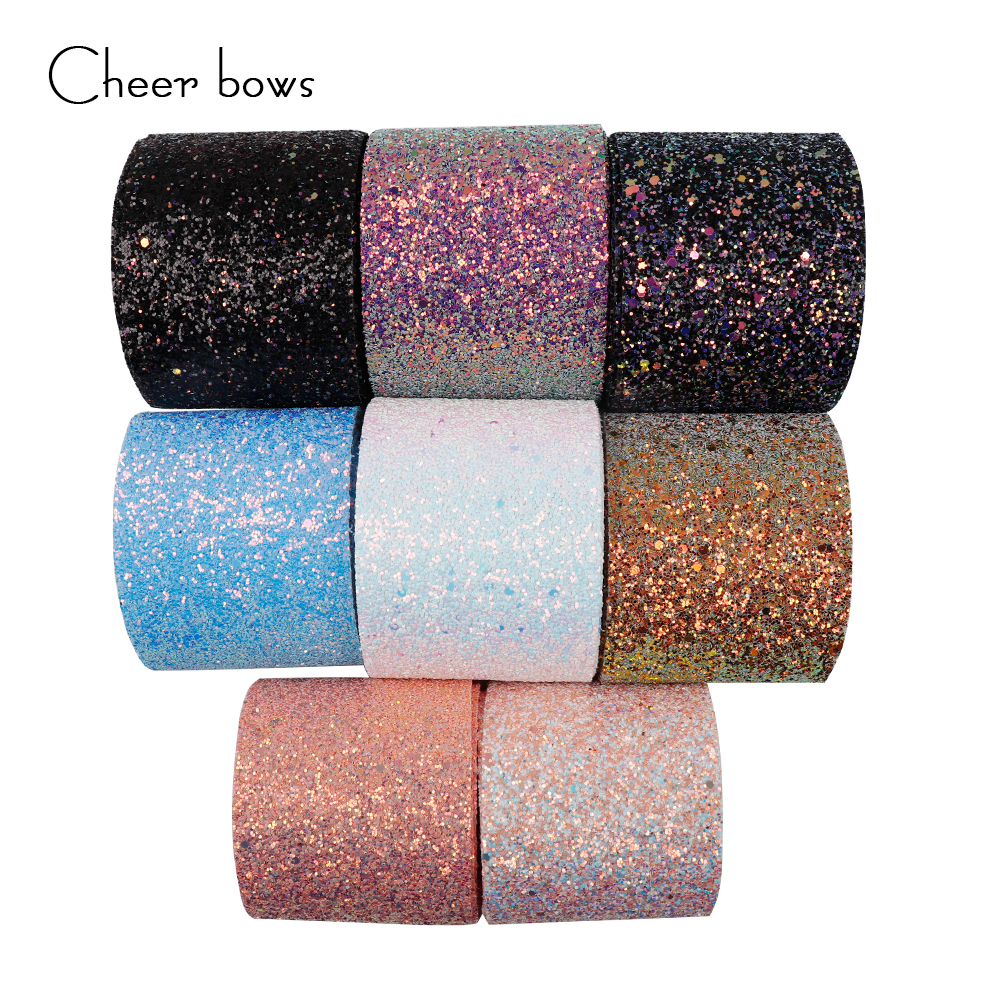 Wholesale 50 100 Yards 3 75mm Shiny Chunky Glitter Ribbon Soft Fabric Gift Package Handmade Material