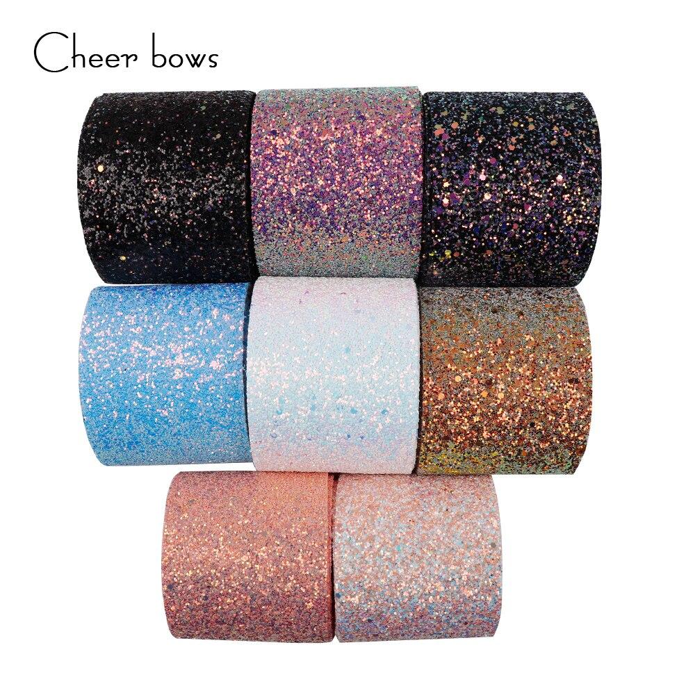 En gros 50/100 Yards 3''75mm brillant Chunky paillettes ruban doux tissu cadeau paquet fait à la main matériel bricolage Hairbow accessoires