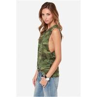 FREE SHIPPING 2015 Cotton Cute Fashion Camouflage Low Thermal Women Vest Women Tank Top Women T