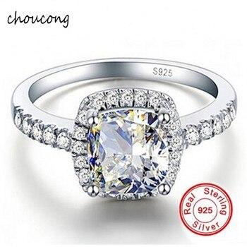 113aff7bfb10 Promoción! Galaxy 925 Plata de ley de lujo 4 CZ Diamant anillo de boda de  cristal para las mujeres anillo tamaño ee.uu.