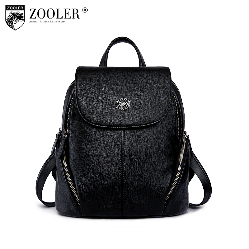 ZOOLER Genuine Leather backpacks for teenage girls female school backpack Large Capacity shoulder bag bagpack J101 nigedu brand genuine leather women backpacks large capacity female school bag laptop backpack girls shoulder travel mochila