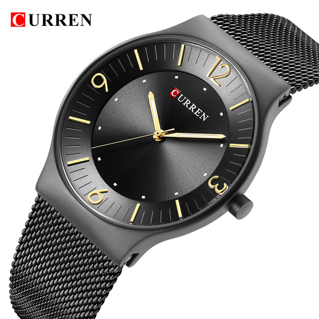 цена на Curren Men Quartz Watch Top Brand Luxury Gold Stainless Steel Business Mens Watches Male Sport Clock Relogio Masculino Dropship