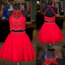Real photos halter neck beaded rhinestone two pieces homecoming dresses 2017 sexy backless a line tulle short prom dress