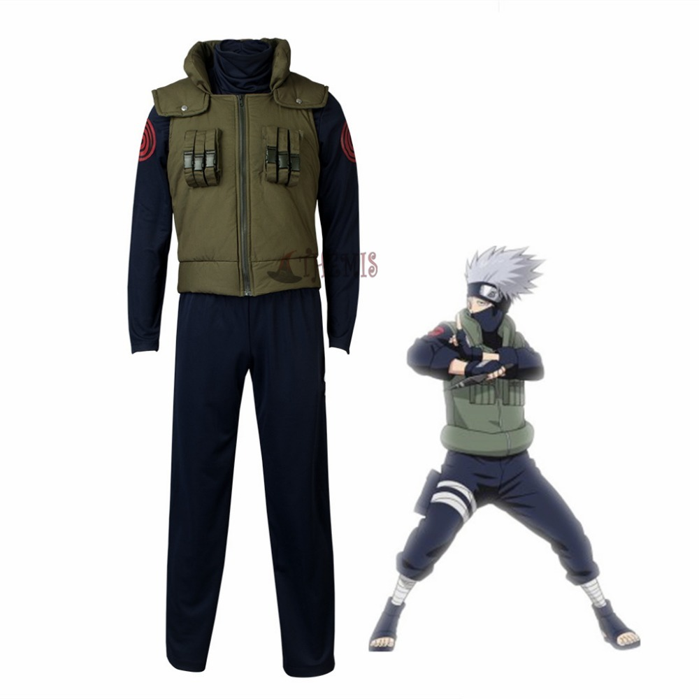 Anime Naruto Hatake Kakashi Cosplay Costume Halloween Clothes Vest Shirt Pants Mask Glove Headband Wig Set Custom Made Size