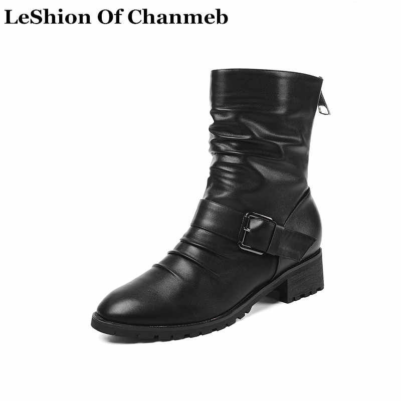 2020 brand soft PU leather biker boots