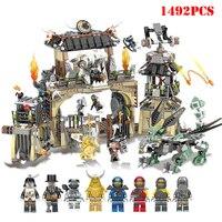 NEW 1492PCS legoinglys Ninjagoe Series Heavy Dragon Base Camp Castle Building Blocks Compatible Figures DIY Bricks Toy For Child