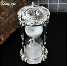 European 15min metal sand clock ampulheta hourglass 15minutes sand watch sand hourglass with gift box for home decorationSL004