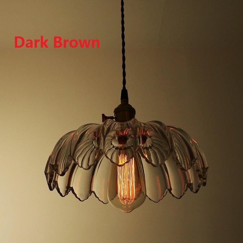 American Country Glass Lotus Retro Pendant Lamp Nordic Vintage Loft Restaurant Pendant Light Fixtures Modern Kitchen Lighting