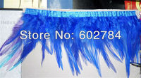 Free Shipping 10meters Height 4 6 (8 15cm) Royal blue Rooster Hackle Feather Rooster Feather tail Trimming Fringe