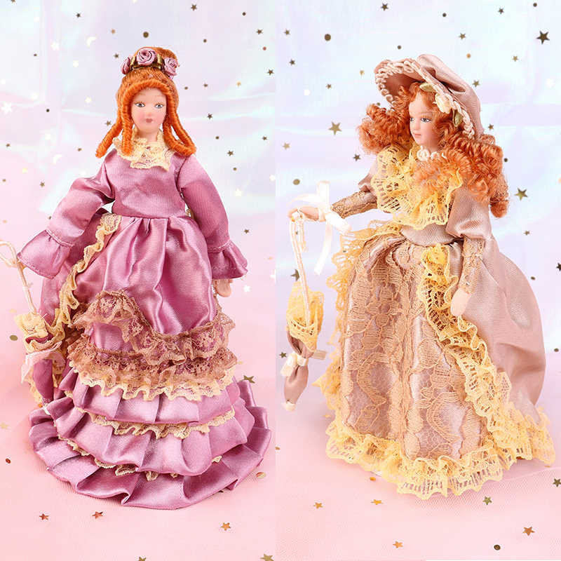 Elegant Lady Madam 1:12 Dollhouse Miniature ตุ๊กตา Dollhouse Victorian
