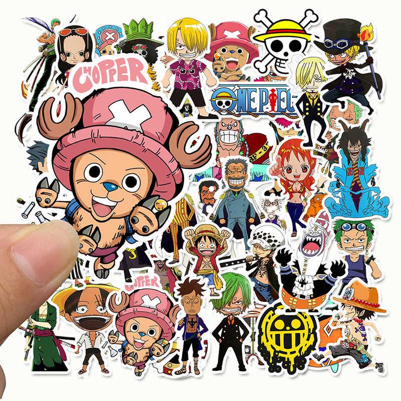 50 Buah/Bungkus Anime 2019 One Piece Luffy Stiker untuk Mobil Laptop PVC Ransel Motif Pad Sepeda PS4 Tahan Air Stiker