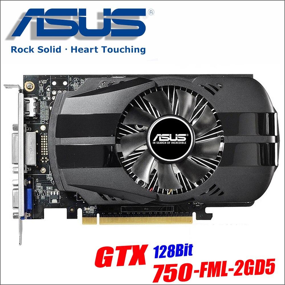 Asus использовали GTX-750-FML-2GD5 GTX750 GTX 750 2 г D5 DDR5 128 бит настольных ПК Графика карты PCI Express 3,0 компьютеров графика карты