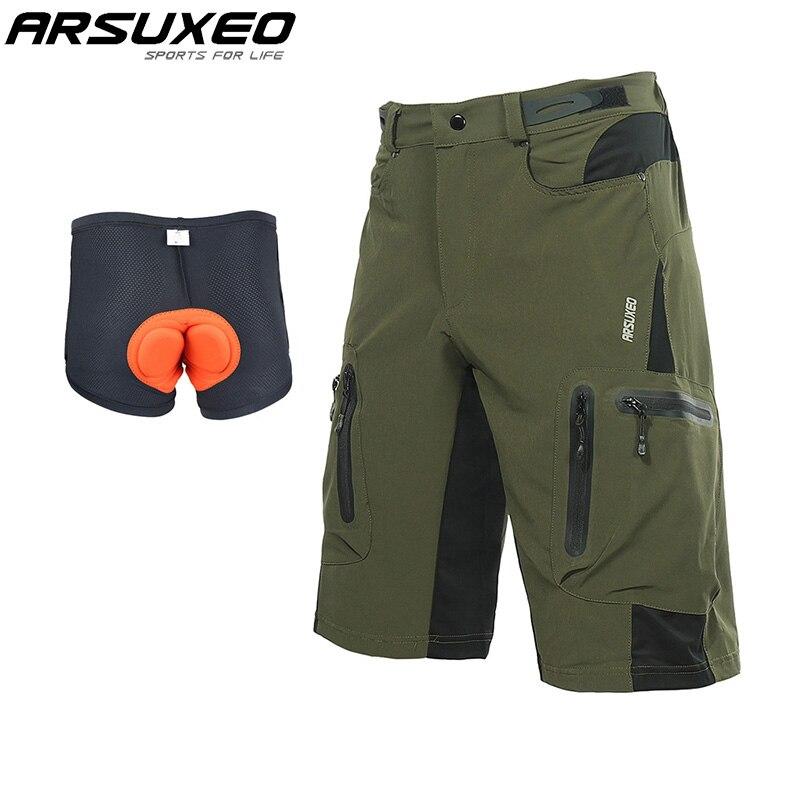 ARSUXEO Männer Outdoor-Sport MTB Mountainbike Fahrrad Shorts Radfahren Shorts Wasserdicht Downhill Mit Padded 3D Unterwäsche