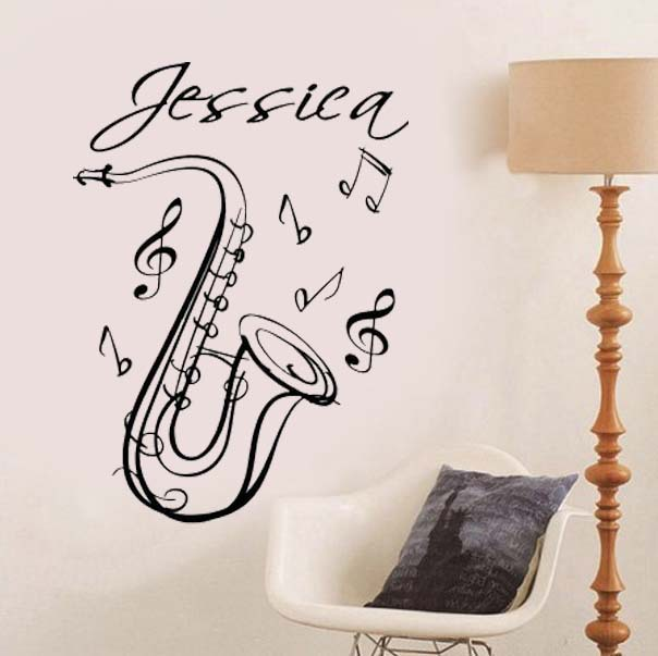 Saxophone Name Music Instrument Custom Name Wall Stickers Quote home ...