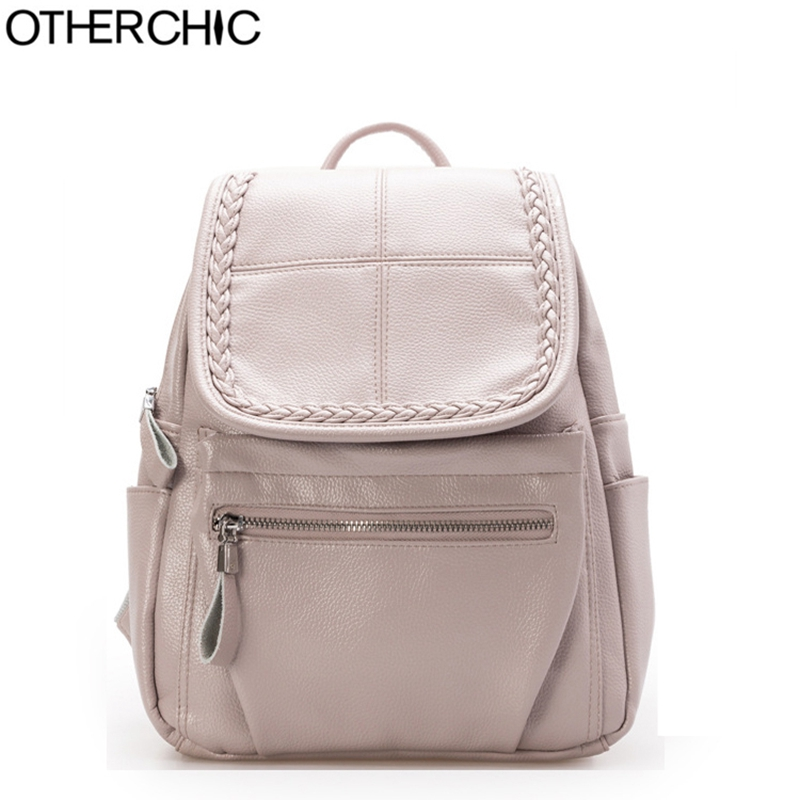 OTHERCHIC Fashion Soft Wome Backpack PU Leather Teenage Girls School Backpacks Women Casual Haversack Shoulder Bags
