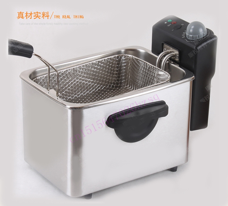 CUKYI Household outlet fryer commercial fryer thermostat no fumes small single cylinder 3 L chicken fries machine edtid new high quality small commercial ice machine household ice machine tea milk shop